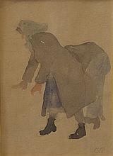 Attr. to Camille Pissarro, French (1830-1903), Peasant study, watercolor, 6 x 4 1/2 inches