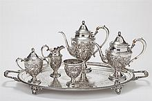 Frank M. Whiting Sterling Silver Coffee/Tea Service 'TALISMAN ROSE'