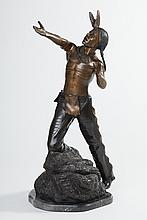 Charles Henry Humphriss, 1867-1934, Bronze Sculpture of Native American on Rock Formation, Height: 30 1/2 inches