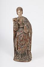 16th - 17th Century Continental Wooden Statue of St. Mary Magdalene