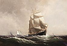 Thomas Clarkson Oliver, American (1827-1893), Ship on the waters, oil on canvas, 14 x 19 7/8 inches