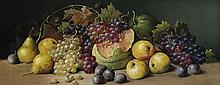 Attributed to Joseph Decker, American (1853-1924), Still life with grapes, apples and watermelon, oil on canvas, 13 x 32 inches