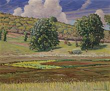 Theodore Wendel, American (1859-1932), Provincial landscape, oil on canvas, 25 1/8 x 30 1/4 inches