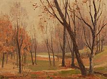 Sarkis Erganian, American (b. 1869), Autumn landscape, oil on board, 12 x 16 inches