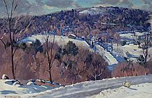 Robert Atwood, American (1892-1970), Hillside landscape in winter, 1948, oil on canvas, 22 x 32 inches