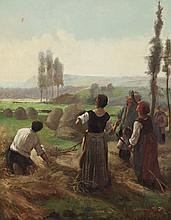 Continental School, 19th century, Figures in a Hayfield, oil on canvas,