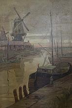Harvey A. Brownson, American (20th Century), Dutch Harbor at Dawn, oil on canvas, 47 1/2 x 31 1/2 inches