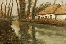 In the Manner of Frits Thaulow, Norweigan (1847-1906), Cottage near a stream, oil on canvas, 20 x 30 inches