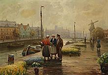 Oskar Koch, (1886-1914), Canal scene, Amsterdam, oil on canvas, 28 x 39 1/2 inches
