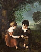 Continental School, 19th century, Two children in a landscape with bird's nest, oil on canvas,