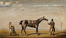 Contintental School, 19th Century, Horse with two figures, oil on board,