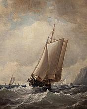 Clark Thompson Oliver, American (1827-1893), Vessel on choppy waters, oil on board, 11 9/16 x 9 9/16 inches