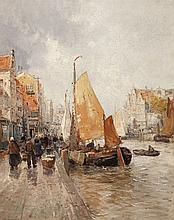 Karl Ludwig Friedrich Wagner, German (1839-1923), Sailboats in a canal, oil on canvas, 30 x 24 inches