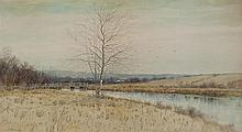 Samuel R. Chaffee, American (1850-1913), River landscape with distant village, watercolor on paper, 12 x 21 1/2 inches