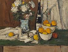 Charles Quest, American (1904-1993), Still life with flowers, fruit and wine, oil on masonite, 23 x 30 inches