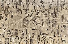 Hal Poth, American (b. 1924), Untitled, 2005, ink on paperboard, 26 1/4 x 40 inches