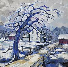 Vi K. Poth, American, House in winter, 1967, oil on canvas, 30 x 30 inches