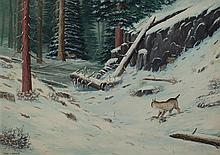 Miles Maryott, American (1871-1939), Forest snow scene, 1929, oil on canvas, 30 x 42 inches
