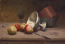 Jean Mannheim, American (1863-1945), Still life with apples, wine and bowls, oil on canvas, 15 x 21 1/2 inches