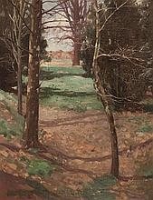 Ralph C. Ott, American (1875-1931), Wooded landscape with distant clearing, oil on canvas, 22 x 17 inches