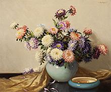 A. D. Greer, American (1904-1998), Still life with mums, oil on canvas, 25 x 30 inches