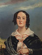 English School, 19th century, Bust length portrait of a woman in a landscape setting, oil on panel, 10 x 8 inches