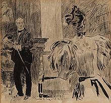 Charles Dana Gibson, American (1867-1944), Two figures in interior, ink on paper, 7 x 7 1/2 inches