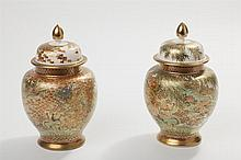 Pair of Japanese Satsuma Pottery Ginger Jars and Covers