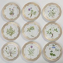 Nine Royal Copenhagen Flora Danica Plates