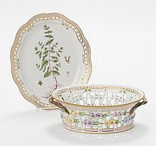 Royal Copenhagen Porcelain FLORA DANICA Basket and Dish