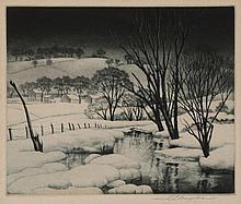 Samuel L. Margolies, American, Winter Symphony, etching,