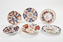 Six Antique English Imari Style Porcelain Plates