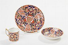 Antique Derby Porcelain Three-Piece Dessert Set, Imari Style