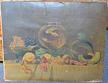 Antique chromolithograph of still life with fishbowl unsigned, unframed