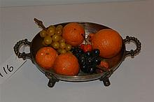 Plated silver footed and two-handled oval compote with painted stoneware fruits.