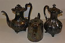 Three English plated silver coffee/tea pots