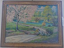 American School, Spring landscape, Santa Cruz, 1937, oil on board, 24 x 36 inches