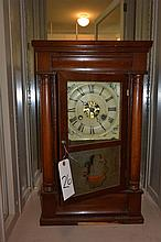 Antique Seth Thomas shelf clock with ogee panels top & bottom, eglomise panel below.