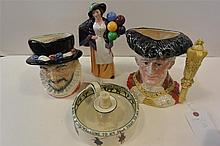 Four pieces Doulton; Isaac Walton nappy, with 2 large character mugs, and a balloon lady