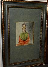 St. Louis, 20th century, Waist-length portrait of a woman, watercolor and pencil on paper, framed