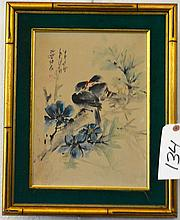 Chinese, 20th century, oil on canvas, birds on a flowering branch, signed upper left, gilt-framed