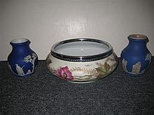 Three pieces English pottery; pair of Wedgwood blue and white jasperware vases and Worcester silver mounted bowl