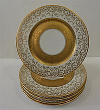 Six Heinrich & Co., Bavaria, porcelan plates, gold decoration