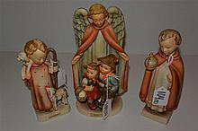 Three Hummel figurines, 'stylized bee' marks