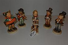 Five Humels figurines, 'stylized bee' marks