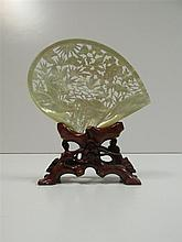 Chinese Abalone shell carving on stand (20th century)