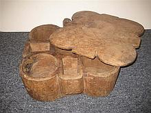 Primitive carved wood compartment box with sliding lid