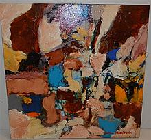 Painting by Allan Friedlander, abstract composition titled