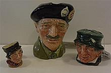 Three Royal Doulton character jugs, large MONTY, D6202, miniature SAM WELLER and PADDY ashtray