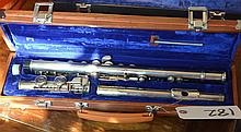 Flute in brown handled case